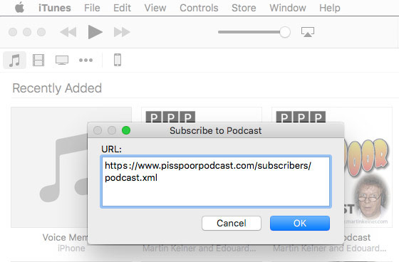 How to set up iTunes subscription to podcast. Step 2.